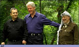Ehud Barak, Bill Clinton and Yasser Arafat