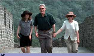 Chelsea, Bill and Hillary Clinton on the Great Wall of China
