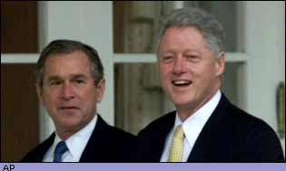 Clinton meets George W Bush