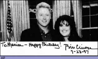 Birthday message from Bill Clinton to Monica Lewinsky with photo