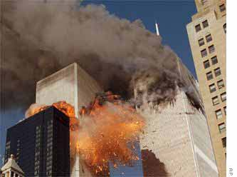 A second plane crashes into the south tower