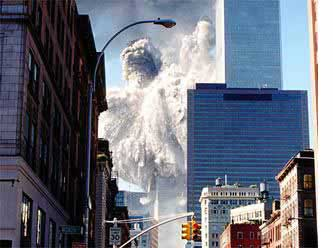 The south tower of the World Trade Center collapses