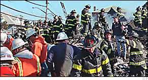 Rescue workers at the crash scene