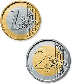 1 and 2 euro coins