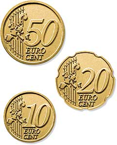 50, 20 and 10 euro cent coins