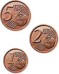 5, 2 and 1 euro cent coins