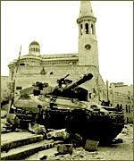 An Israeli tank in Manger Square in Bethlehem