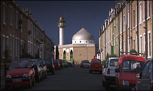 A mosque on a British street - multicultural society today