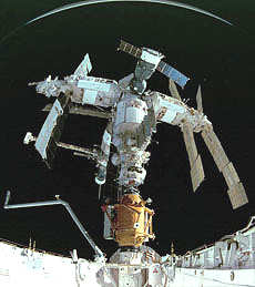 A view from the space shuttle as it docks with Mir
