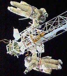 Cosmonauts perform a tricky spacewalk