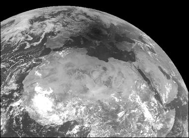 Satellite shows moonshadow over Europe