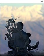 A man gathering wood near Kabul