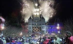 Salt Lake City's residents gather to watch the start of the Olympic celebrations