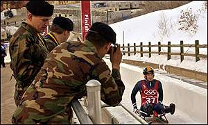 Slavik practices the luge on his final training day in Salt Lake City
