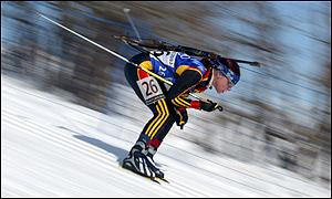 Andrea Henkel of Germany competes in the womens 15km biathlon