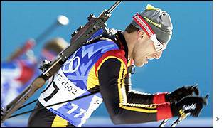 Frank Luck of Germany powers to the silver medal in the men's 20 km biathlon
