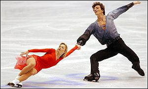 Gold medal winners Elena Berezhnaya and Anton Sikharulidze in action in the pairs free program