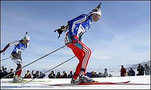 Ole Einar Bjoerndalen of Norway competes in the mens 10km biathlon sprint
