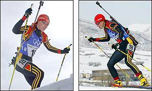 Kati Wilhelm of Germany races to gold in the women's 7.5km biathlon sprint