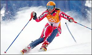 Croatia's Janica Kostelic in action in the slalom on the way to claiming Croatia's first-ever skiing medal