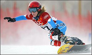 Isabella Dal Balcon of Italy competes in the parallel giant slalom snowboarding