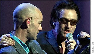 Michael Stipe and Bono - pic copyright Reuters
