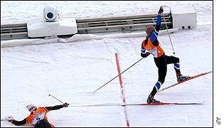 Germany's Peter Schlickenrieder took the silver after crossing the finish line just one tenth of a second behind