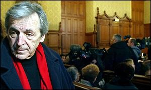 Constantin Costa-Gavras attends the opening hearing in Paris on 19 February