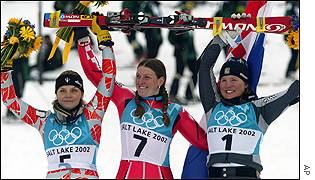 Croat skier Janica Kostelic (7) clinched her second gold of the Salt Lake City Games as she won the women's slalom