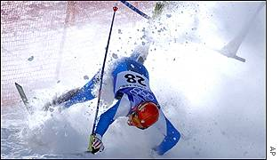 Italy's Alexander Ploner crashes out of the men's giant slalom