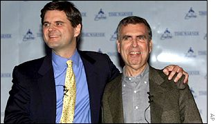 AOL's Steve Case and Time Warner's Gerald Levin announce merger plans