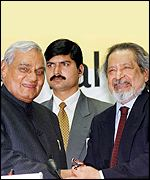 Naipaul also met Indian Prime Minister Atal Behari Vajpayee (left)