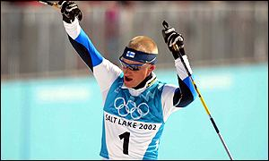 Samppa Lajunen of Finland wins the Nordic combined sprint to capture his third gold at Salt Lake City