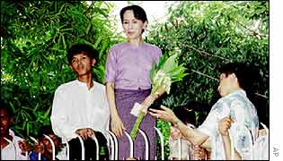 Aung San Suu Kyi pictured at her home in 1995