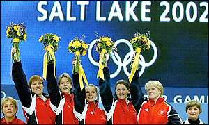 Britiain's women curling team celebrate their unexpected gold medal