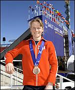 Britain's Alex Coomber poses proudly with her bronze medal