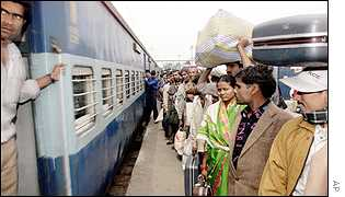 Indians waiting for a train
