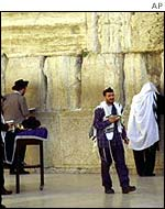 Jews praying at the Wailing Wall in Jerusalem