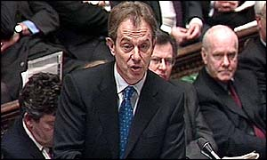Prime Minister' Tony Blair at question time in the Commons