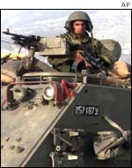 Israeli army tank at the Balata refugee camp