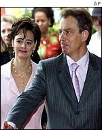 Mr and Mrs Blair arrive at conference