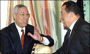 US Secretary of State Colin Powell (L) greets Egyptian President Hosni Mubarak
