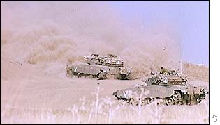Israeli tanks in the Golan Heights