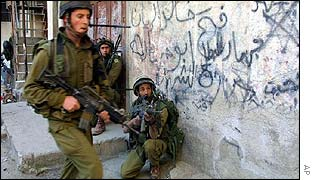 Israeli army in Balata refugee camp in the West Bank on 2 March