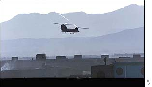 A US helicopter flies over the Paktia province town of Gardez, Afghanistan
