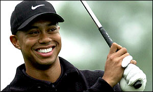 Golfer Tiger Woods, wearing Nike cap