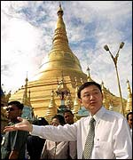 Thai PM Thaksin Shinawatra by Rangoon's Shwedagon Pagoda in June 2001