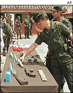 Confiscated weapons from guerrilla group in Medellin