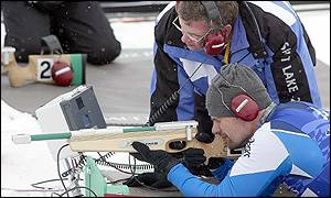 Italy's Franz Gatscher takes aim in the 7.5km Biathlon