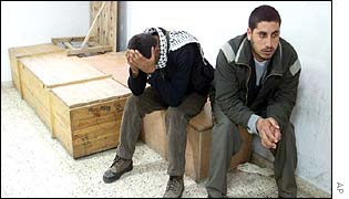 Palestinian men with coffins of relatives